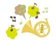 ホルンと音符のイラスト