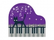夜の街とネコとピアノのイラスト