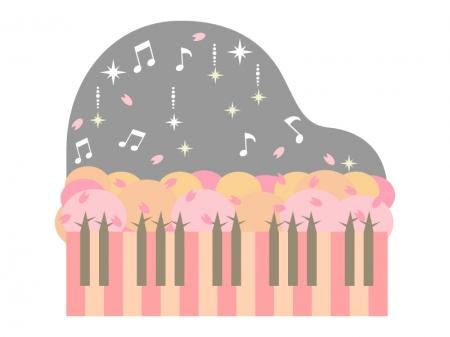 桜並木とピアノのイラスト