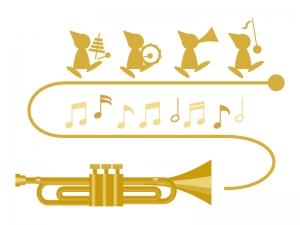 トランペットとかわいい音楽隊のイラスト