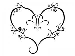 白黒のバラとハートのイラスト