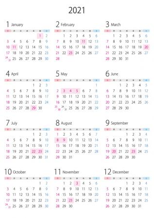 A4縦・2021年(令和3年)1月~12月の年間カレンダー_2