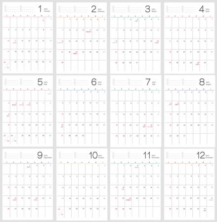 シンプルなデザインの2021年(令和3年)1月~12月の年間カレンダー