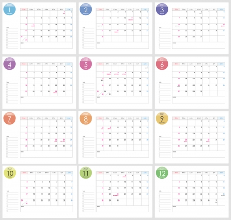 A4横・2021年(令和3年)1月~12月の年間カレンダー