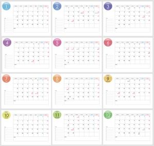 月曜始まりの2021年(令和3年)1~12月カレンダー・A4印刷用