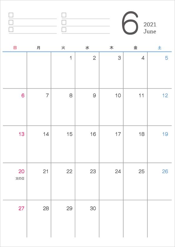 シンプルなデザインの2021年(令和3年)6月のカレンダー