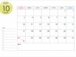 A4横・2021年10月(令和3年)カレンダー・印刷用
