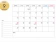 月曜始まりの2021年(令和3年)9月のカレンダー・印刷用