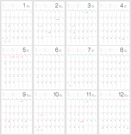 シンプルなデザインの2022年(令和4年)1月~12月の年間カレンダー