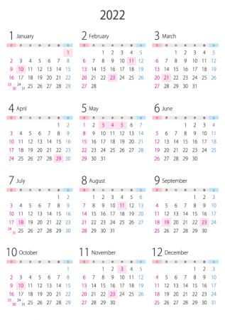 A4縦・2022年(令和4年)1月~12月の年間カレンダー_2