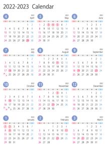 4月始まりの2022年4月~2023年3月の年間カレンダー