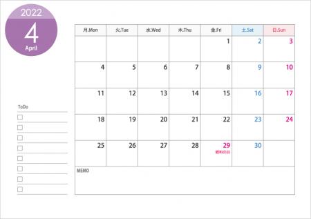 月曜始まりの2022年(令和4年)4月のカレンダー・印刷用
