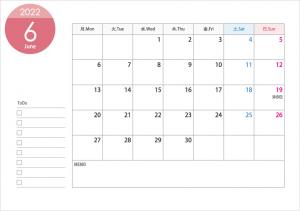 月曜始まりの2022年(令和4年)6月のカレンダー・印刷用
